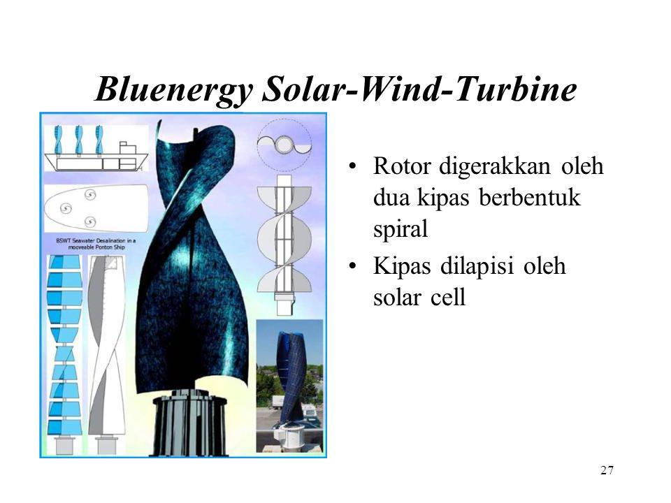 Bluenergy Solar-Wind-Turbine Rotor digerakkan oleh dua kipas berbentuk spiral Kipas dilapisi oleh solar cell 27