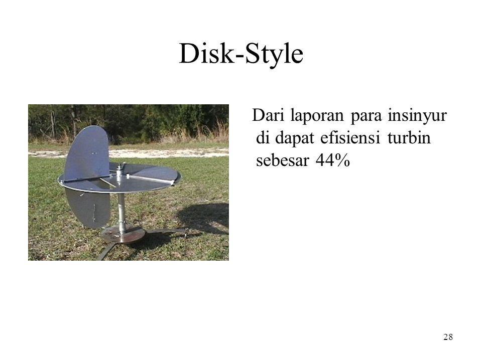 Disk-Style Dari laporan para insinyur di dapat efisiensi turbin sebesar 44% 28