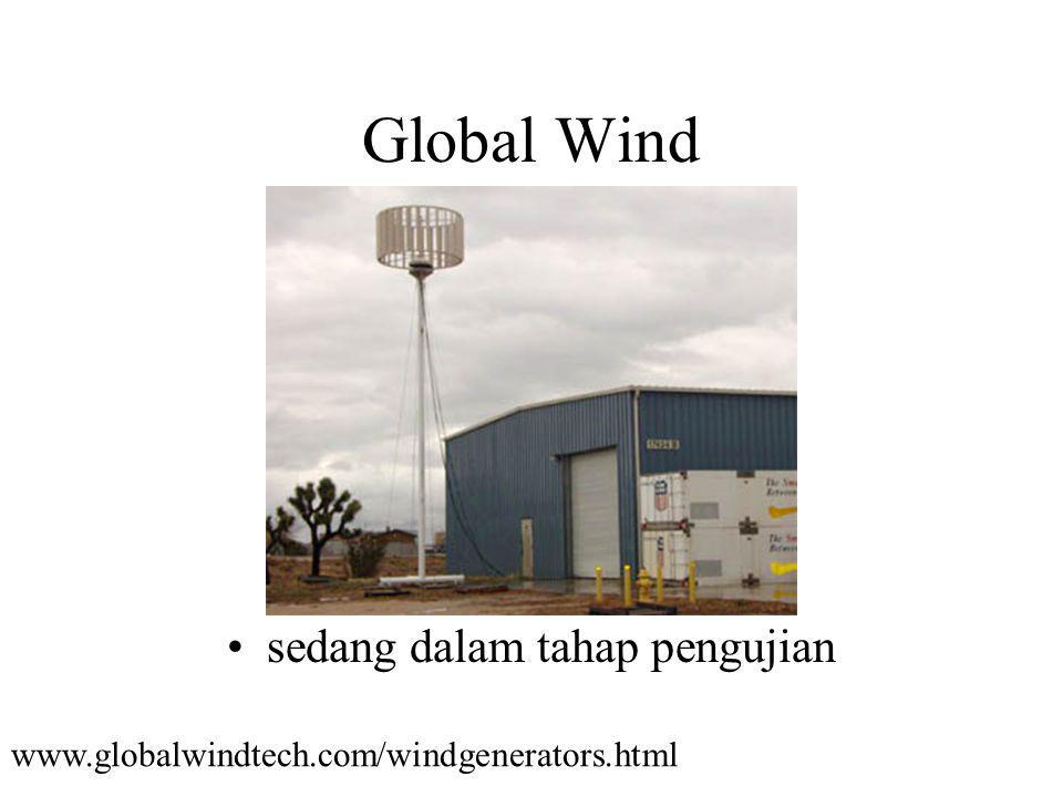 Global Wind sedang dalam tahap pengujian www.globalwindtech.com/windgenerators.html