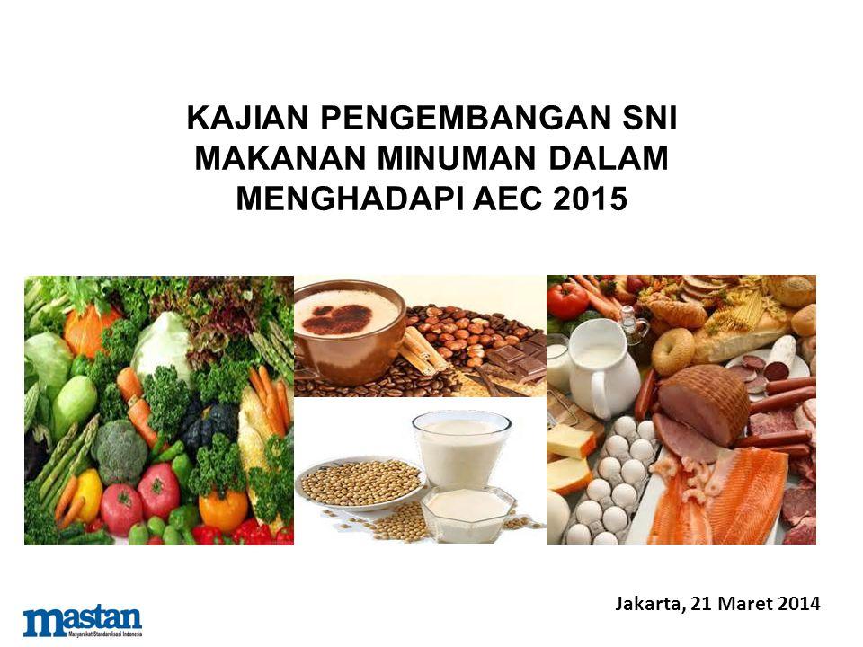Outcome Kajian 1.Penetapan SNI sektor makanan dan minuman terpilih secara tepat waktu dalam menghadapi AEC 2015.