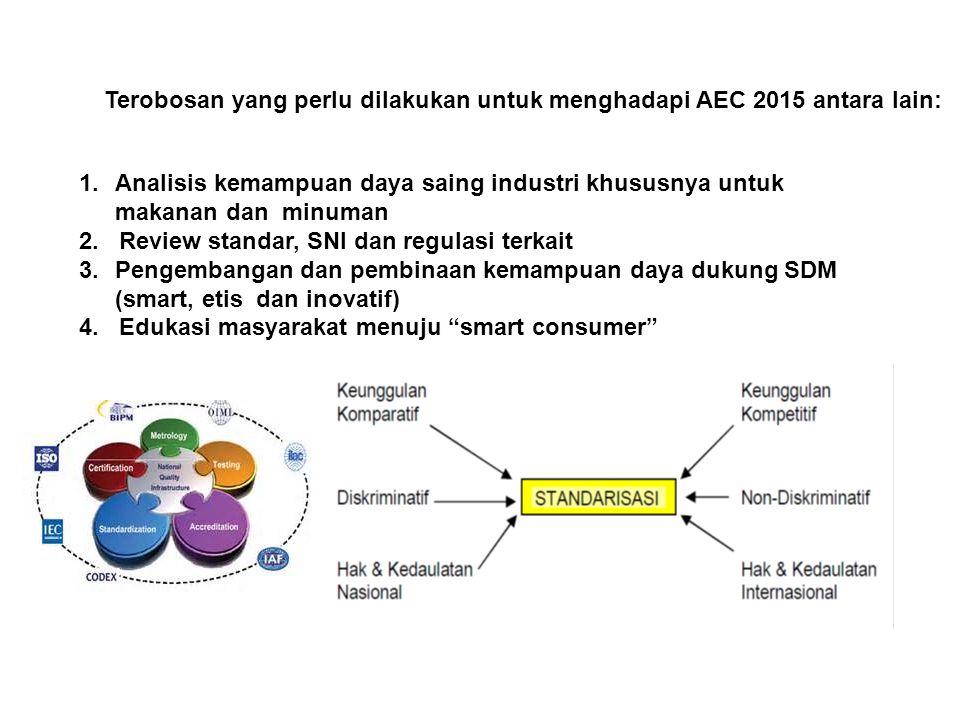1.Analisis kemampuan daya saing industri khususnya untuk makanan dan minuman 2. Review standar, SNI dan regulasi terkait 3.Pengembangan dan pembinaan