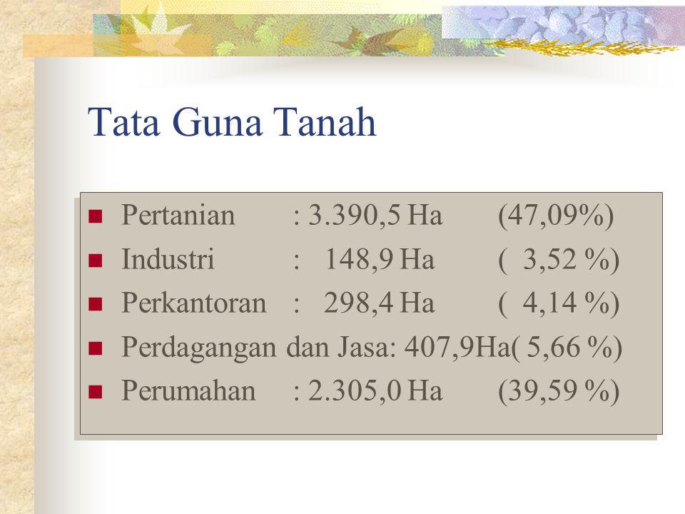 Tata Guna Tanah Pertanian: 3.390,5 Ha(47,09%) Industri: 148,9 Ha( 3,52 %) Perkantoran: 298,4 Ha( 4,14 %) Perdagangan dan Jasa: 407,9Ha( 5,66 %) Peruma