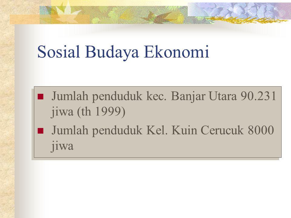 Sosial Budaya Ekonomi Jumlah penduduk kec. Banjar Utara 90.231 jiwa (th 1999) Jumlah penduduk Kel. Kuin Cerucuk 8000 jiwa Jumlah penduduk kec. Banjar