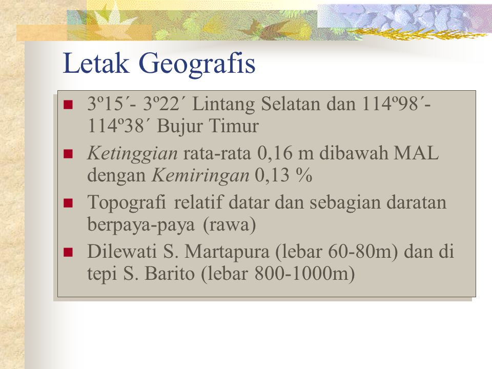 Letak Geografis 3º15´- 3º22´ Lintang Selatan dan 114º98´- 114º38´ Bujur Timur Ketinggian rata-rata 0,16 m dibawah MAL dengan Kemiringan 0,13 % Topogra