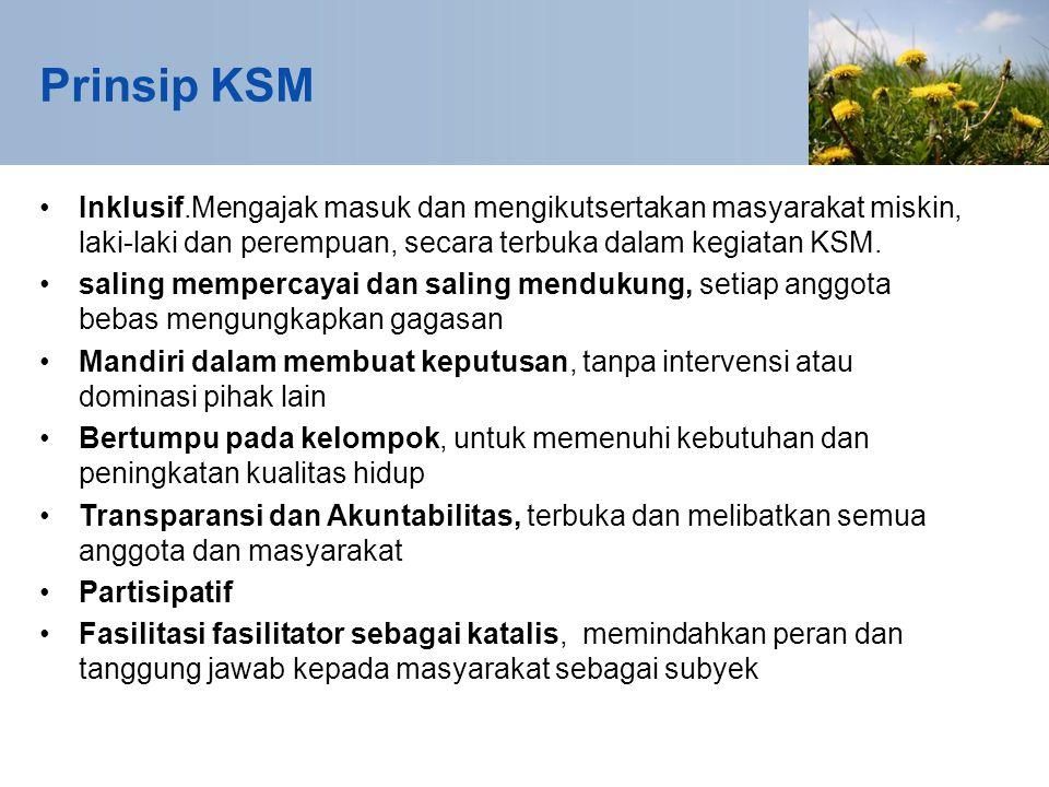 Prinsip KSM Inklusif.Mengajak masuk dan mengikutsertakan masyarakat miskin, laki-laki dan perempuan, secara terbuka dalam kegiatan KSM.