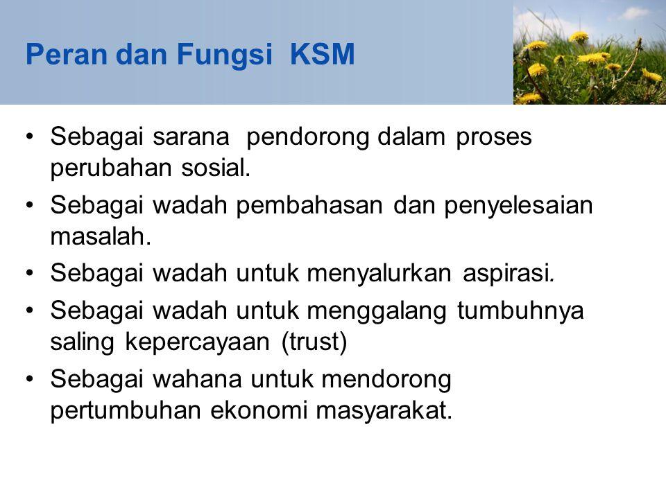 Peran dan Fungsi KSM Sebagai sarana pendorong dalam proses perubahan sosial.
