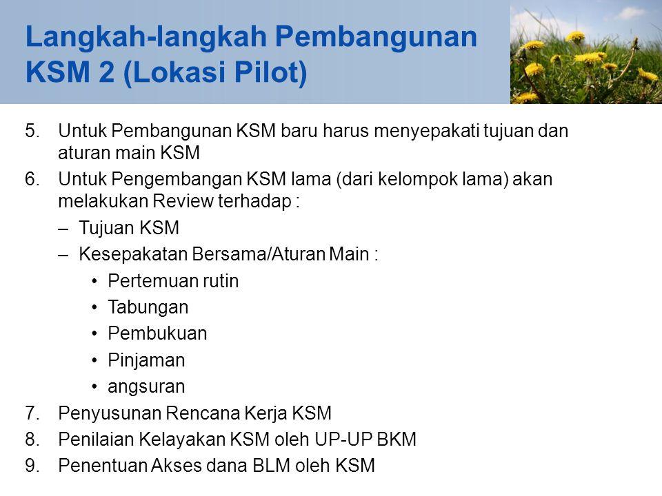 5. Untuk Pembangunan KSM baru harus menyepakati tujuan dan aturan main KSM 6.Untuk Pengembangan KSM lama (dari kelompok lama) akan melakukan Review te