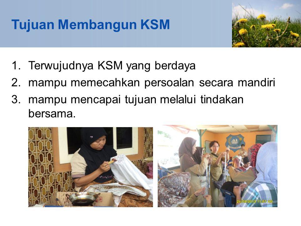 Tujuan Membangun KSM 1.Terwujudnya KSM yang berdaya 2.mampu memecahkan persoalan secara mandiri 3.mampu mencapai tujuan melalui tindakan bersama.