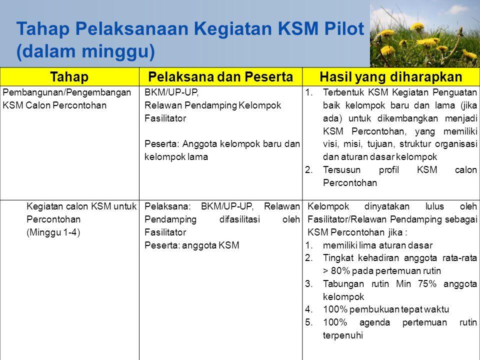 Tahap Pelaksanaan Kegiatan KSM Pilot (dalam minggu) TahapPelaksana dan PesertaHasil yang diharapkan Pembangunan/Pengembangan KSM Calon Percontohan BKM