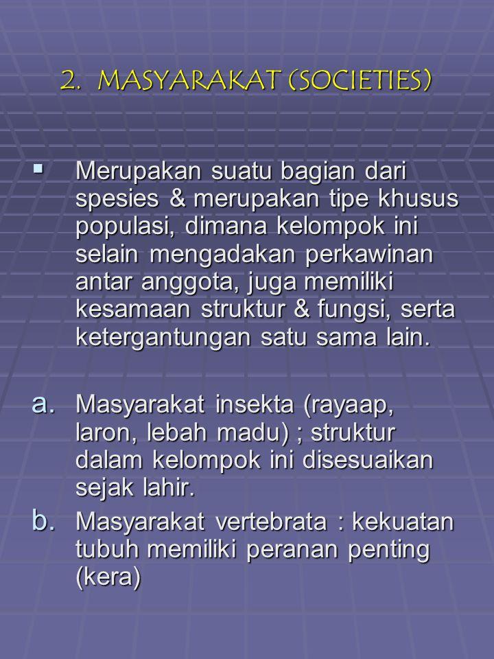3.KOMUNITAS (BIOTA)  Mrpkn asosiasi populasi- populasi lokal dr berbagai spesies.