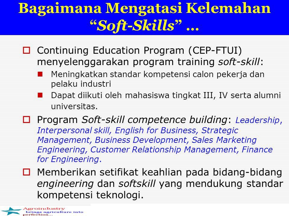 Bagaimana Mengatasi Kelemahan Soft-Skills …  Continuing Education Program (CEP-FTUI) menyelenggarakan program training soft-skill: Meningkatkan standar kompetensi calon pekerja dan pelaku industri Dapat diikuti oleh mahasiswa tingkat III, IV serta alumni universitas.