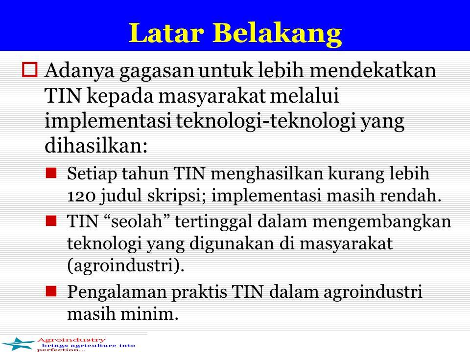 Latar Belakang  Adanya gagasan untuk lebih mendekatkan TIN kepada masyarakat melalui implementasi teknologi-teknologi yang dihasilkan: Setiap tahun TIN menghasilkan kurang lebih 120 judul skripsi; implementasi masih rendah.