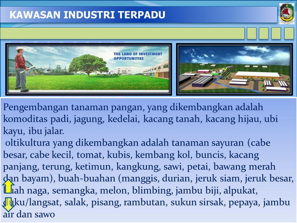KAWASAN INDUSTRI TERPADU 3 Pengembangan tanaman pangan, yang dikembangkan adalah komoditas padi, jagung, kedelai, kacang tanah, kacang hijau, ubi kayu