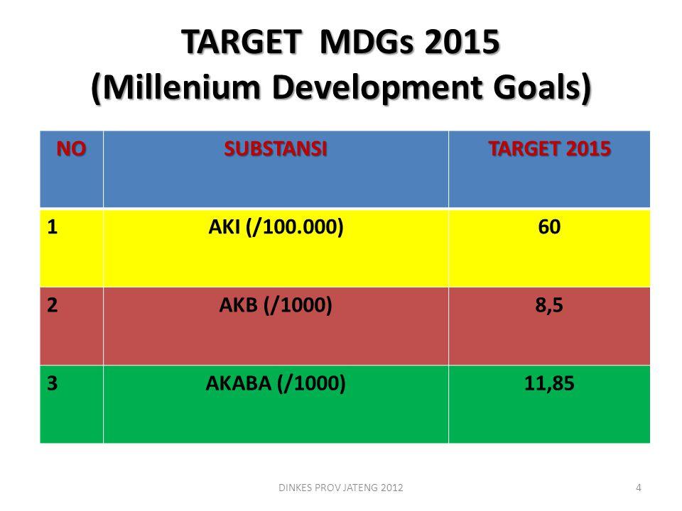 TARGET MDGs 2015 (Millenium Development Goals) DINKES PROV JATENG 20124 NOSUBSTANSI TARGET 2015 1AKI (/100.000)60 2AKB (/1000)8,5 3AKABA (/1000)11,85