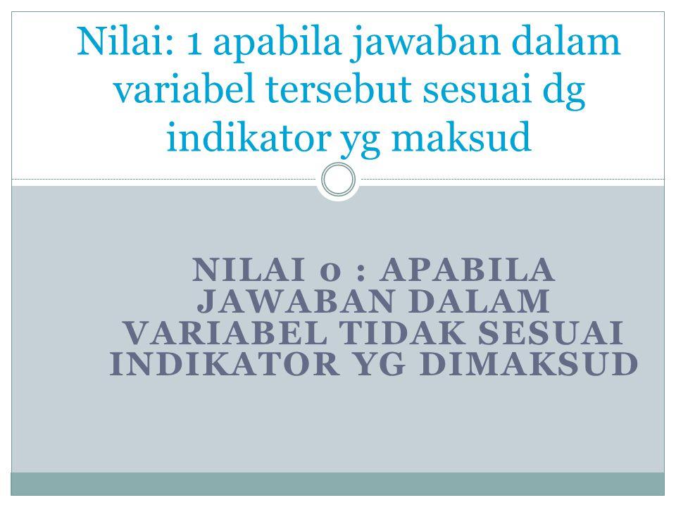 NILAI 0 : APABILA JAWABAN DALAM VARIABEL TIDAK SESUAI INDIKATOR YG DIMAKSUD Nilai: 1 apabila jawaban dalam variabel tersebut sesuai dg indikator yg maksud