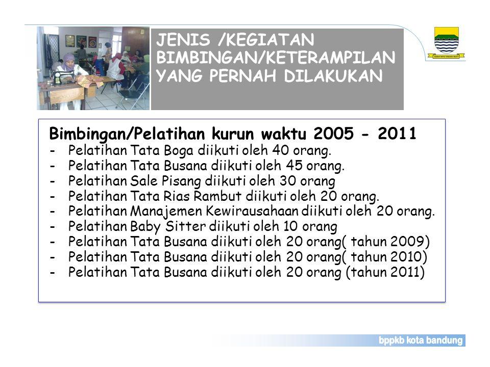 JENIS /KEGIATAN BIMBINGAN/KETERAMPILAN YANG PERNAH DILAKUKAN Bimbingan/Pelatihan kurun waktu 2005 - 2011 -Pelatihan Tata Boga diikuti oleh 40 orang. -
