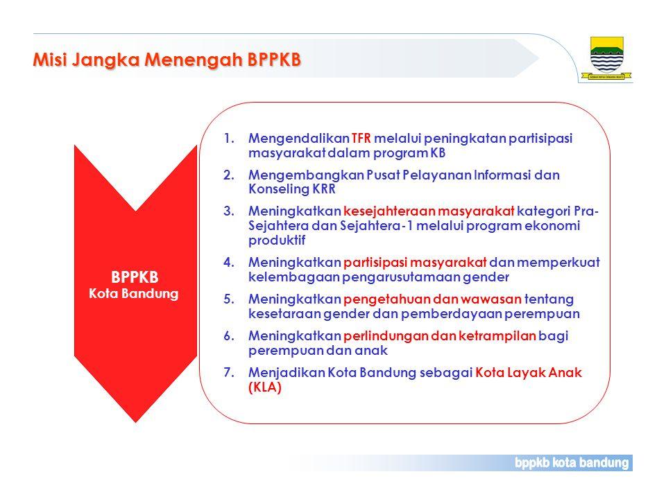 Misi Jangka Menengah BPPKB 1.Mengendalikan TFR melalui peningkatan partisipasi masyarakat dalam program KB 2.Mengembangkan Pusat Pelayanan Informasi d