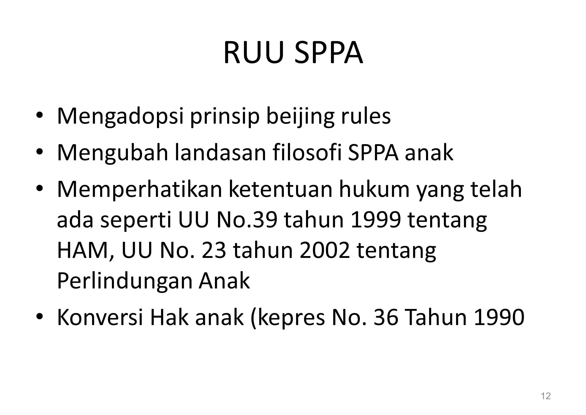 RUU SPPA Mengadopsi prinsip beijing rules Mengubah landasan filosofi SPPA anak Memperhatikan ketentuan hukum yang telah ada seperti UU No.39 tahun 1999 tentang HAM, UU No.