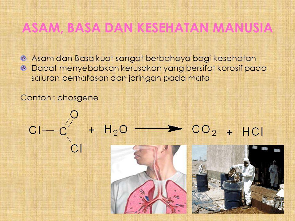 ASAM, BASA DAN KESEHATAN MANUSIA Asam dan Basa kuat sangat berbahaya bagi kesehatan Dapat menyebabkan kerusakan yang bersifat korosif pada saluran pernafasan dan jaringan pada mata Contoh : phosgene