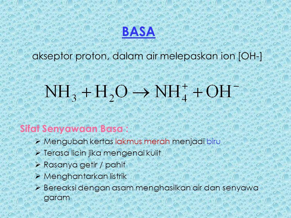 Sifat Senyawaan Basa :  Mengubah kertas lakmus merah menjadi biru  Terasa licin jika mengenai kulit  Rasanya getir / pahit  Menghantarkan listrik  Bereaksi dengan asam menghasilkan air dan senyawa garam BASA akseptor proton, dalam air melepaskan ion [OH-]