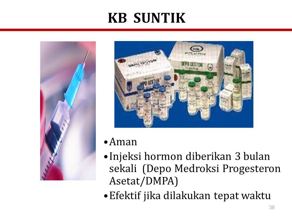 38 Aman Injeksi hormon diberikan 3 bulan sekali (Depo Medroksi Progesteron Asetat/DMPA) Efektif jika dilakukan tepat waktu KB SUNTIK
