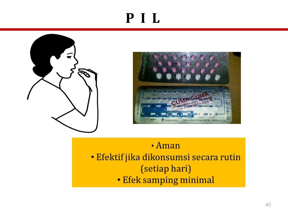 40 Aman Efektif jika dikonsumsi secara rutin (setiap hari) Efek samping minimal P I L