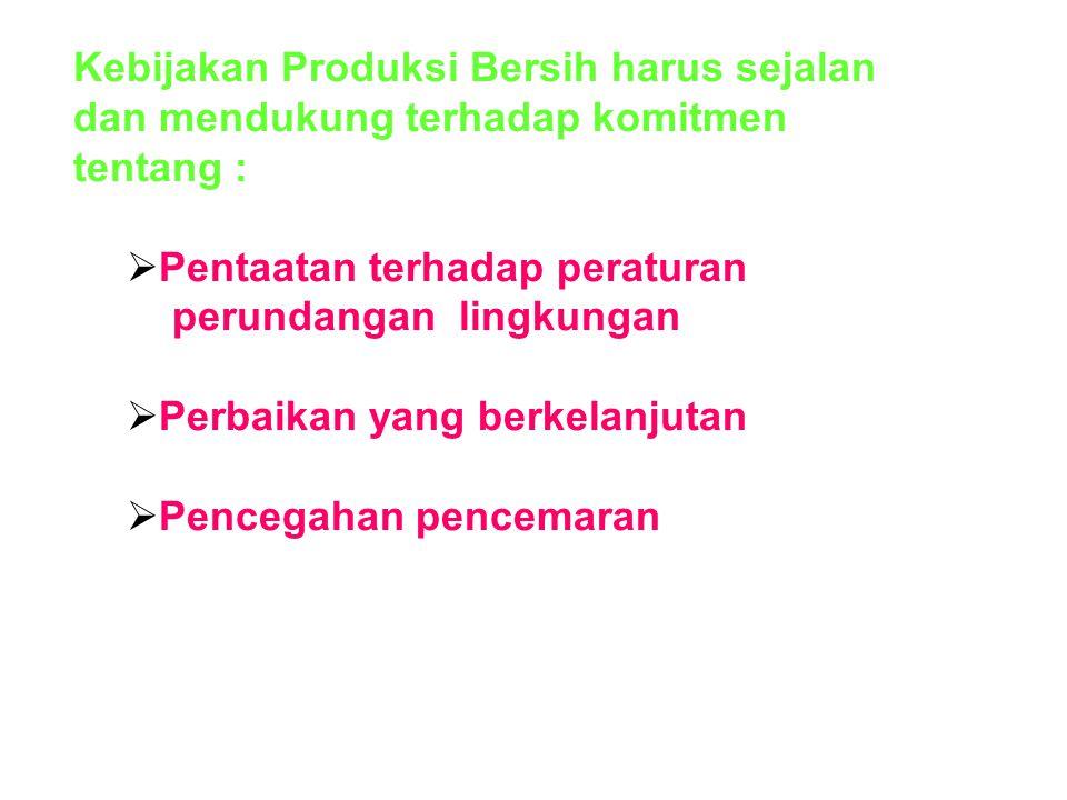  (2). Kebijakan Produksi Bersih Kebijakan Produksi Bersih merupakan pernyataan organisasi tentang komitmen dan prinsip-prinsip yang akan dilakukan be