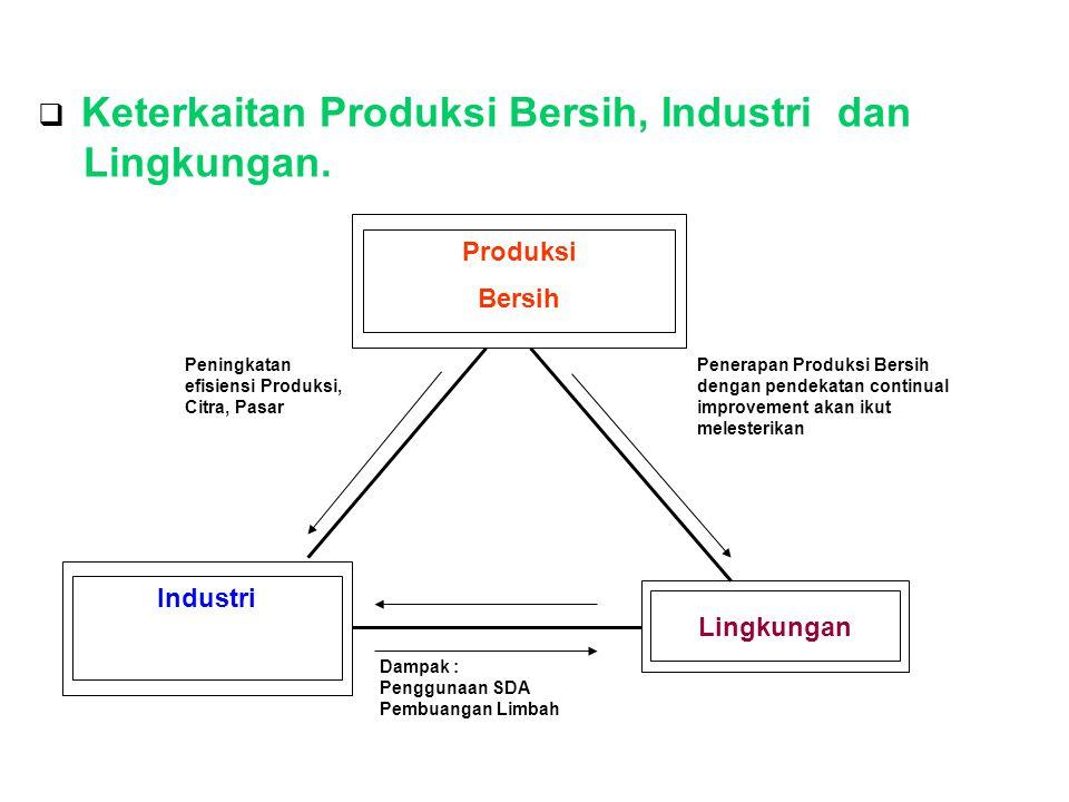 Keterkaitan Produksi Bersih dengan Lingkungan Produksi bersih adalah salah satu upaya untuk memperkecil dampak operasional industri tekstil terhadap lingkungan.