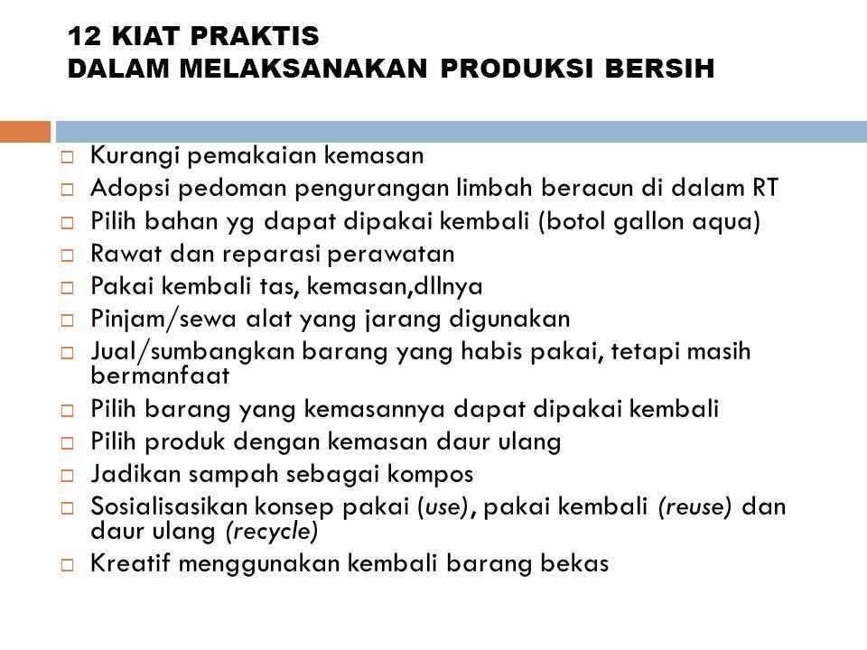 UPAYA MENGATASI KENDALA  Perlu ditekankan bahwa produks bersih bukan hanya tanggung jawab industri saja  Perlu ada persamaan pengertian antara pemer