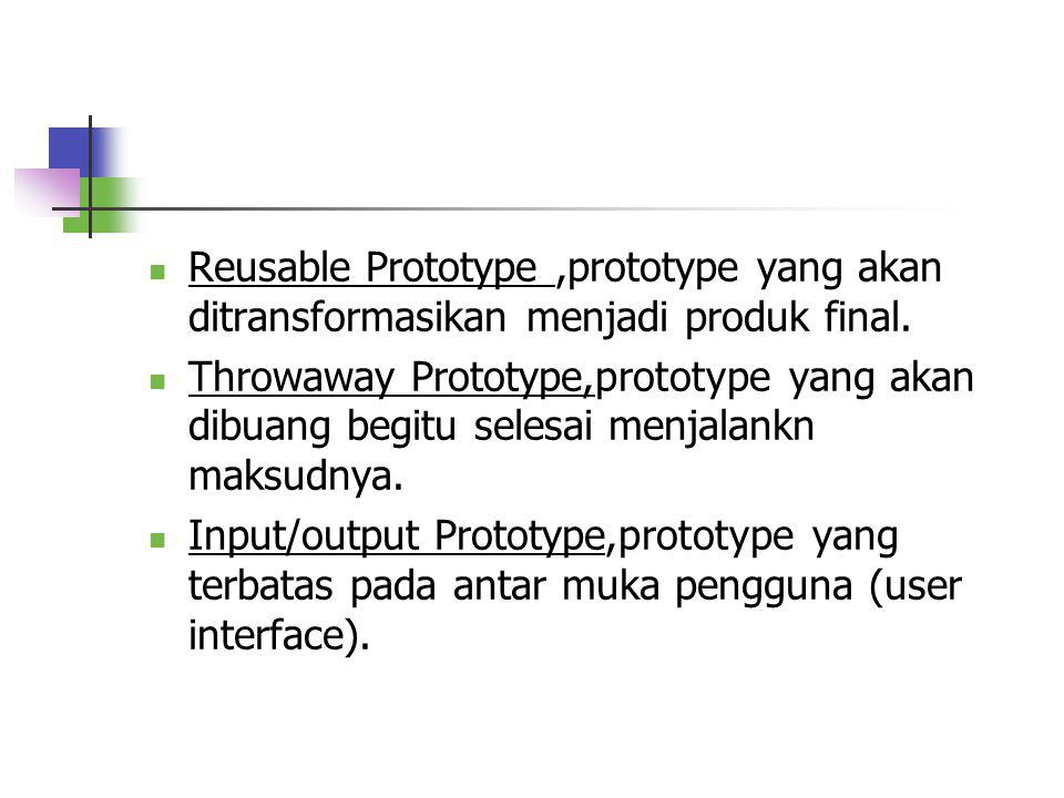 Klasifikasi Prototyping Model Prototyping Model Prototyping Model Pengunaan System Processing Input/Output Throwaway Reusable Level