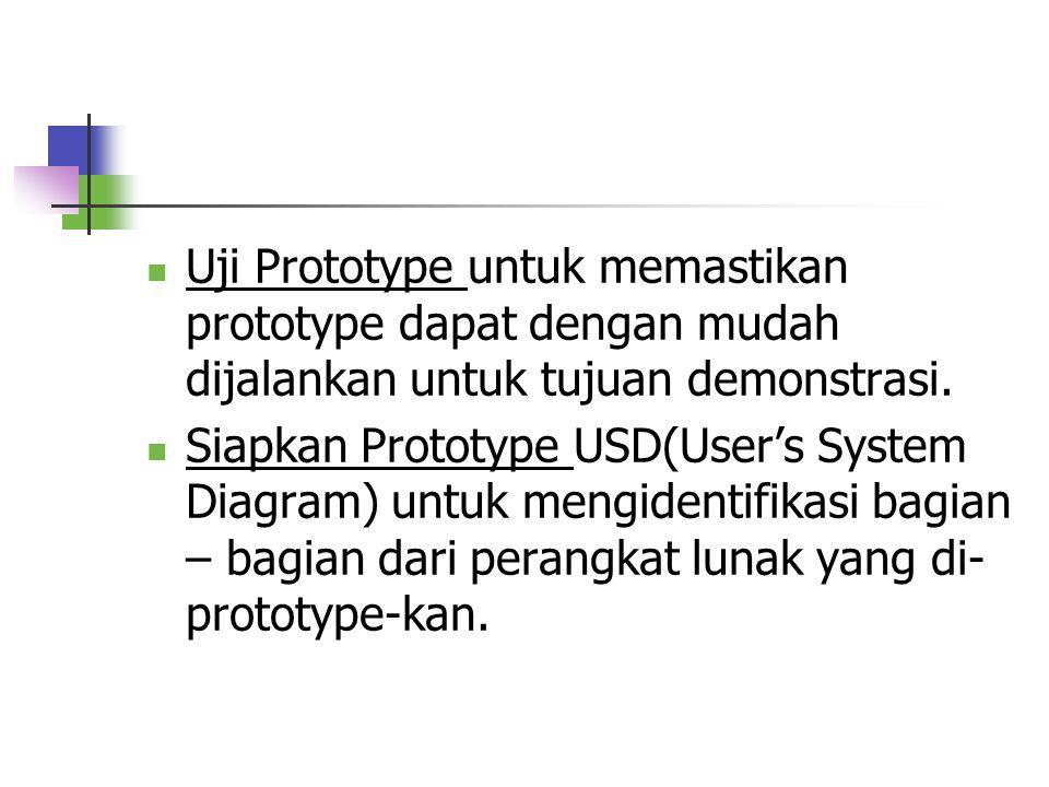 Tahap-tahap Prototyping Identifikasi Kandidat Prototyping. Kandidat dalam kasus ini meliputi user interface(menu,dialog,input & output), file-file tra