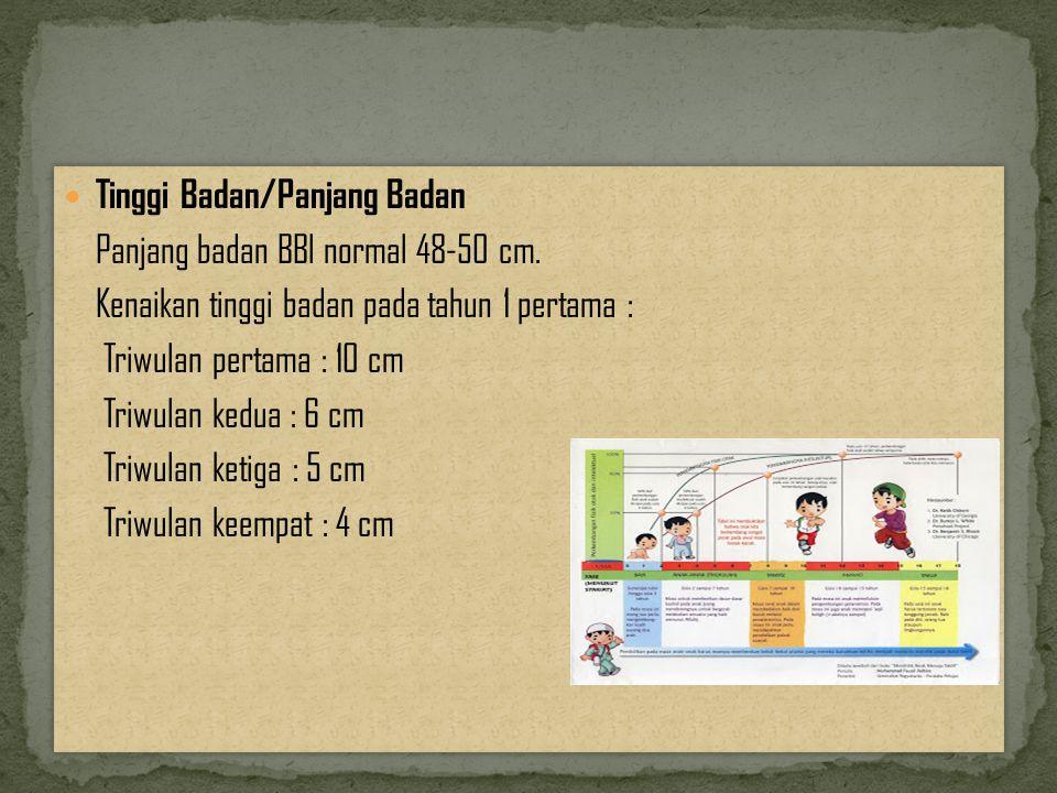 Tinggi Badan/Panjang Badan Panjang badan BBl normal 48-50 cm.