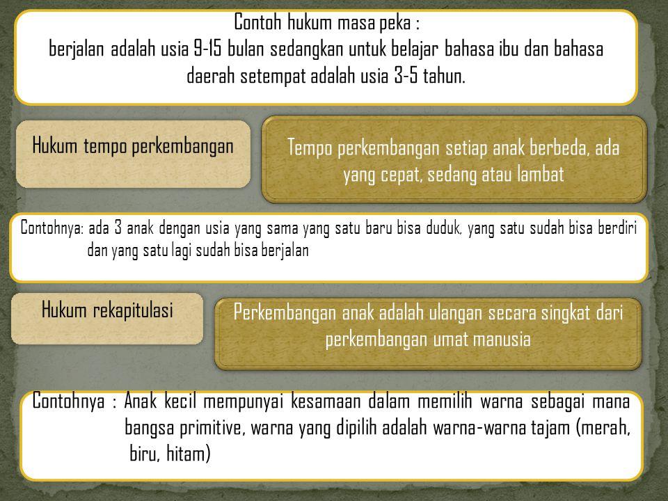 Hukum tempo perkembangan Contoh hukum masa peka : berjalan adalah usia 9-15 bulan sedangkan untuk belajar bahasa ibu dan bahasa daerah setempat adalah usia 3-5 tahun.