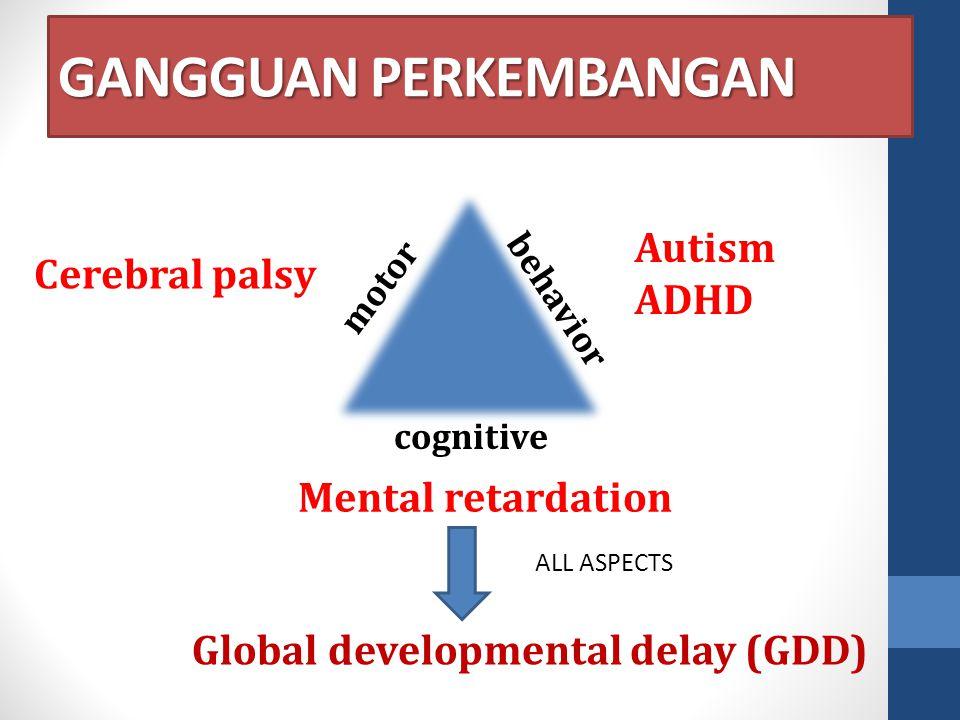 GANGGUAN PERKEMBANGAN motor cognitive behavior Cerebral palsy Autism ADHD Mental retardation Global developmental delay (GDD) ALL ASPECTS