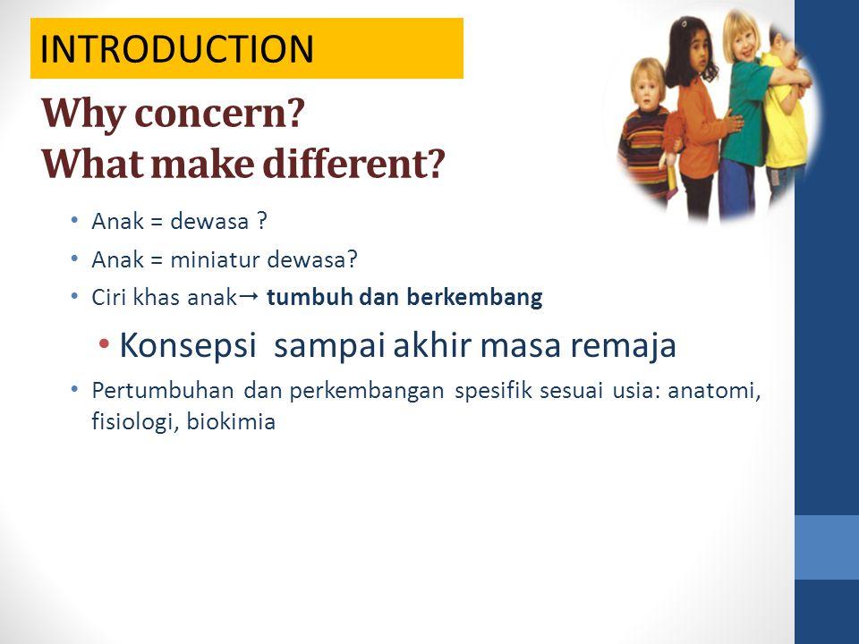 Why concern? What make different? Anak = dewasa ? Anak = miniatur dewasa? Ciri khas anak  tumbuh dan berkembang Konsepsi sampai akhir masa remaja Per