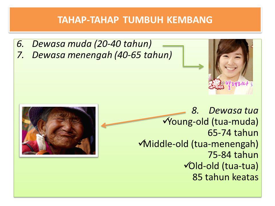 TAHAP-TAHAP TUMBUH KEMBANG 6.Dewasa muda (20-40 tahun) 7.Dewasa menengah (40-65 tahun) 8. Dewasa tua Young-old (tua-muda) 65-74 tahun Middle-old (tua-