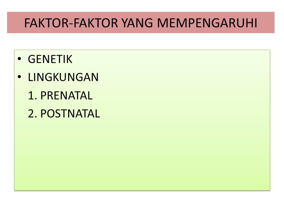 FAKTOR-FAKTOR YANG MEMPENGARUHI GENETIK LINGKUNGAN 1. PRENATAL 2. POSTNATAL GENETIK LINGKUNGAN 1. PRENATAL 2. POSTNATAL