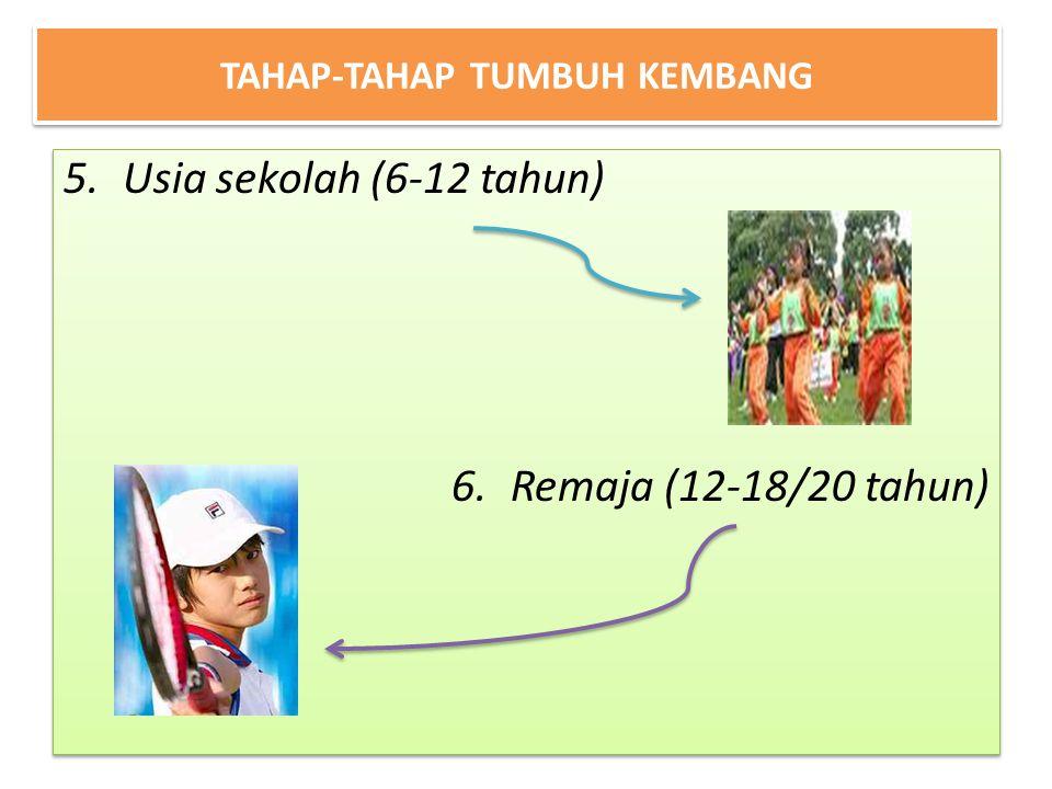 TAHAP-TAHAP TUMBUH KEMBANG 5.Usia sekolah (6-12 tahun) 6.Remaja (12-18/20 tahun) 5.Usia sekolah (6-12 tahun) 6.Remaja (12-18/20 tahun)