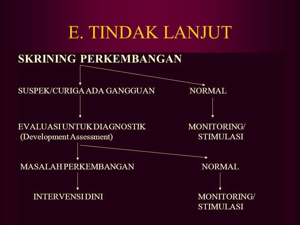 E. TINDAK LANJUT SKRINING PERKEMBANGAN SUSPEK/CURIGA ADA GANGGUAN NORMAL EVALUASI UNTUK DIAGNOSTIK MONITORING/ (Development Assessment)STIMULASI MASAL