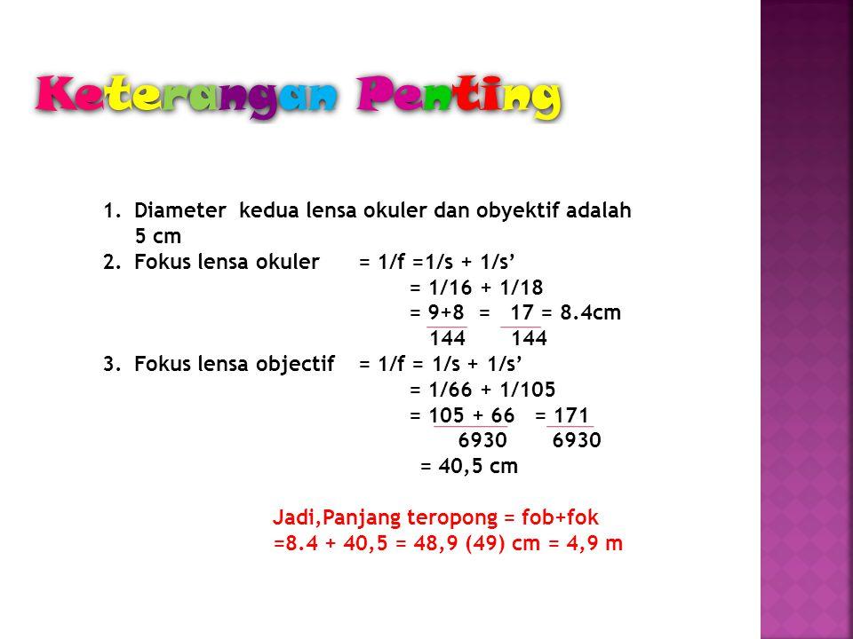 Keterangan Penting 1.Diameter kedua lensa okuler dan obyektif adalah 5 cm 2.Fokus lensa okuler = 1/f =1/s + 1/s' = 1/16 + 1/18 = 9+8 = 17 = 8.4cm 144 144 3.Fokus lensa objectif= 1/f = 1/s + 1/s' = 1/66 + 1/105 = 105 + 66 = 171 6930 6930 = 40,5 cm Jadi,Panjang teropong = fob+fok =8.4 + 40,5 = 48,9 (49) cm = 4,9 m
