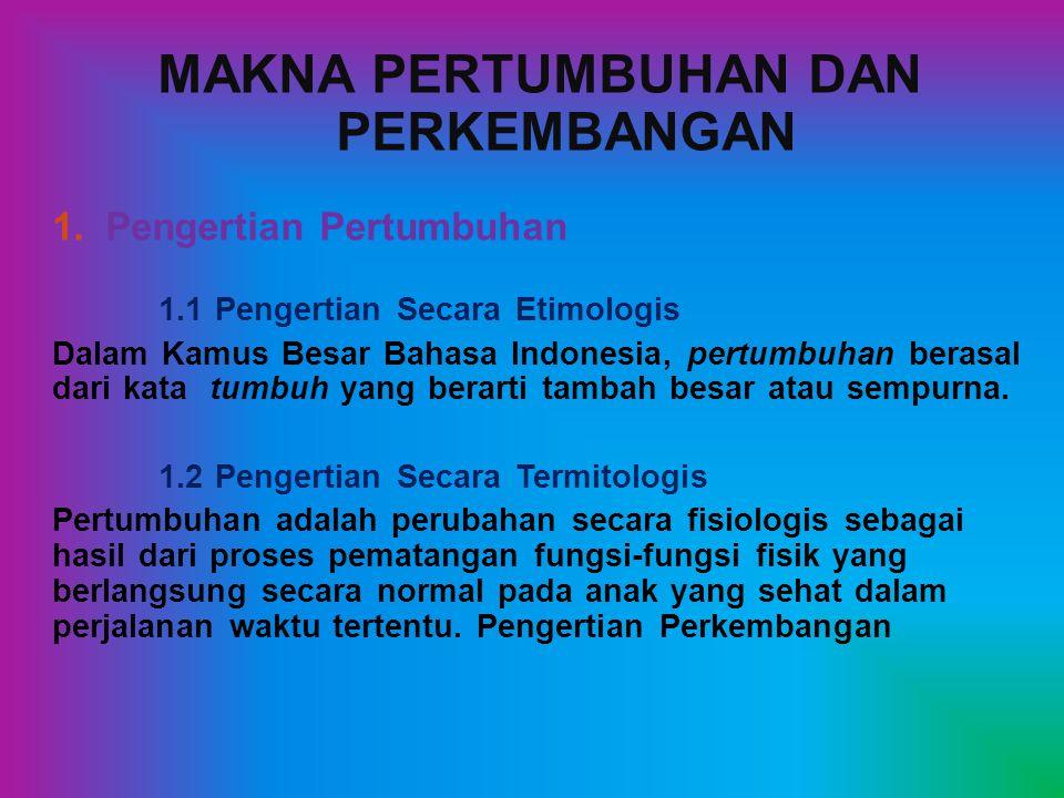 MAKNA PERTUMBUHAN DAN PERKEMBANGAN 1.Pengertian Pertumbuhan 1.1 Pengertian Secara Etimologis Dalam Kamus Besar Bahasa Indonesia, pertumbuhan berasal dari kata tumbuh yang berarti tambah besar atau sempurna.