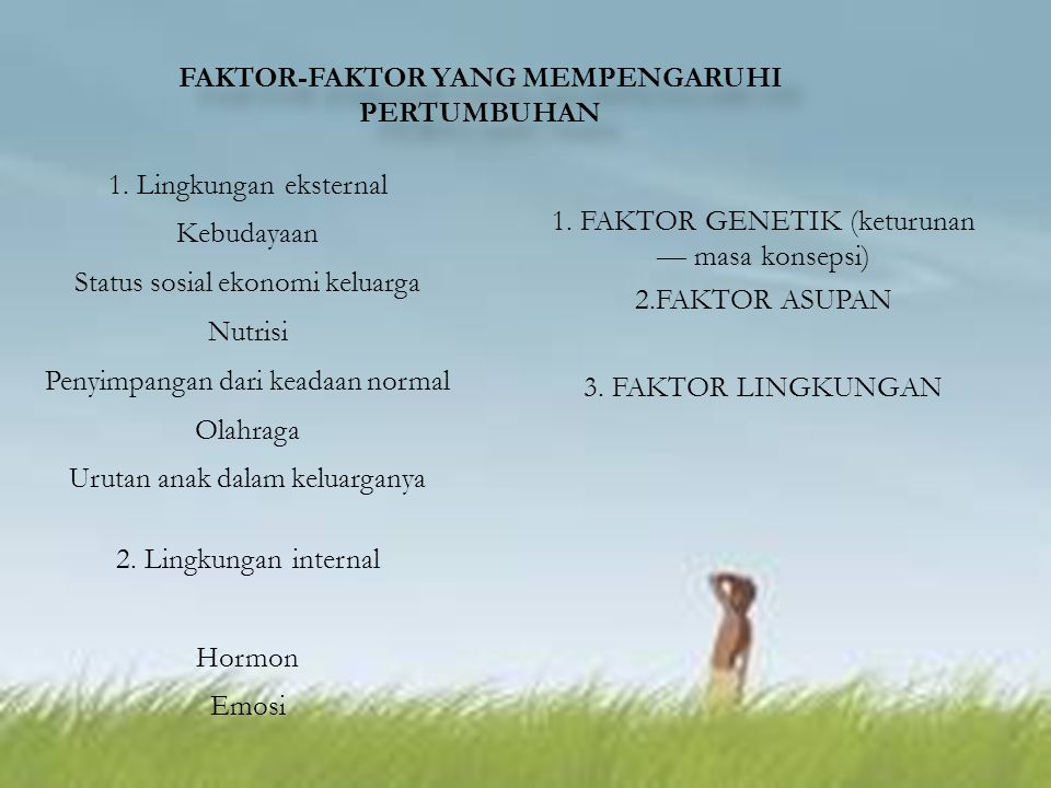 FAKTOR-FAKTOR YANG MEMPENGARUHI PERTUMBUHAN FAKTOR-FAKTOR YANG MEMPENGARUHI PERTUMBUHAN 1.