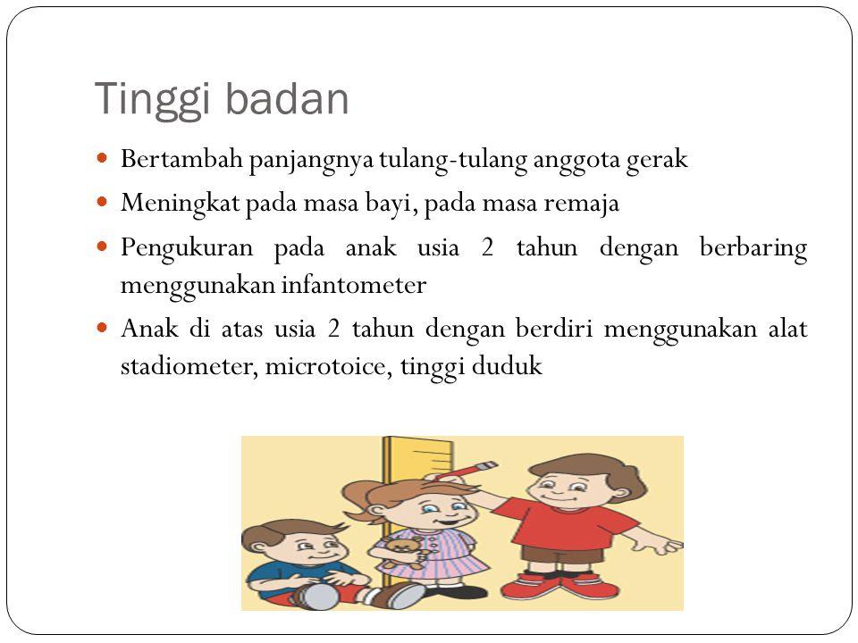 Tinggi badan Bertambah panjangnya tulang-tulang anggota gerak Meningkat pada masa bayi, pada masa remaja Pengukuran pada anak usia 2 tahun dengan berbaring menggunakan infantometer Anak di atas usia 2 tahun dengan berdiri menggunakan alat stadiometer, microtoice, tinggi duduk