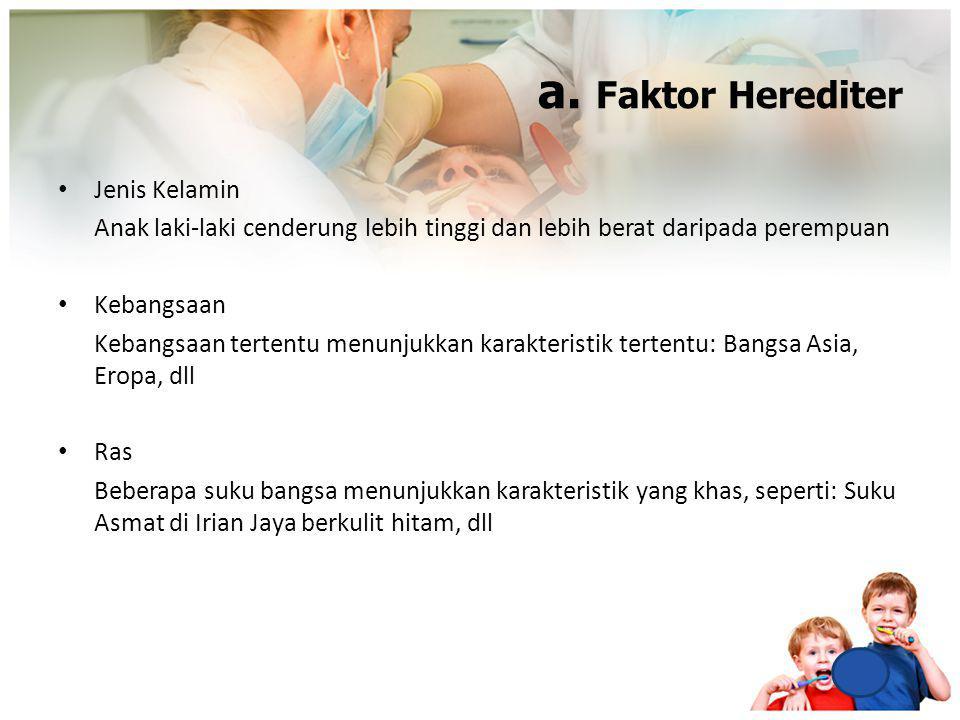 a. Faktor Herediter Jenis Kelamin Anak laki-laki cenderung lebih tinggi dan lebih berat daripada perempuan Kebangsaan Kebangsaan tertentu menunjukkan