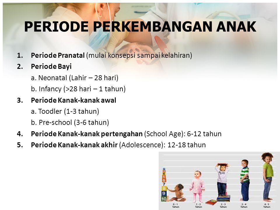 PERIODE PERKEMBANGAN ANAK 1.Periode Pranatal (mulai konsepsi sampai kelahiran) 2.Periode Bayi a. Neonatal (Lahir – 28 hari) b. Infancy (>28 hari – 1 t