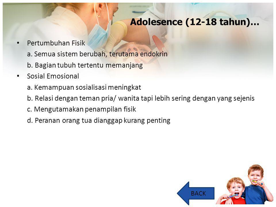 Adolesence (12-18 tahun)… Pertumbuhan Fisik a. Semua sistem berubah, terutama endokrin b. Bagian tubuh tertentu memanjang Sosial Emosional a. Kemampua