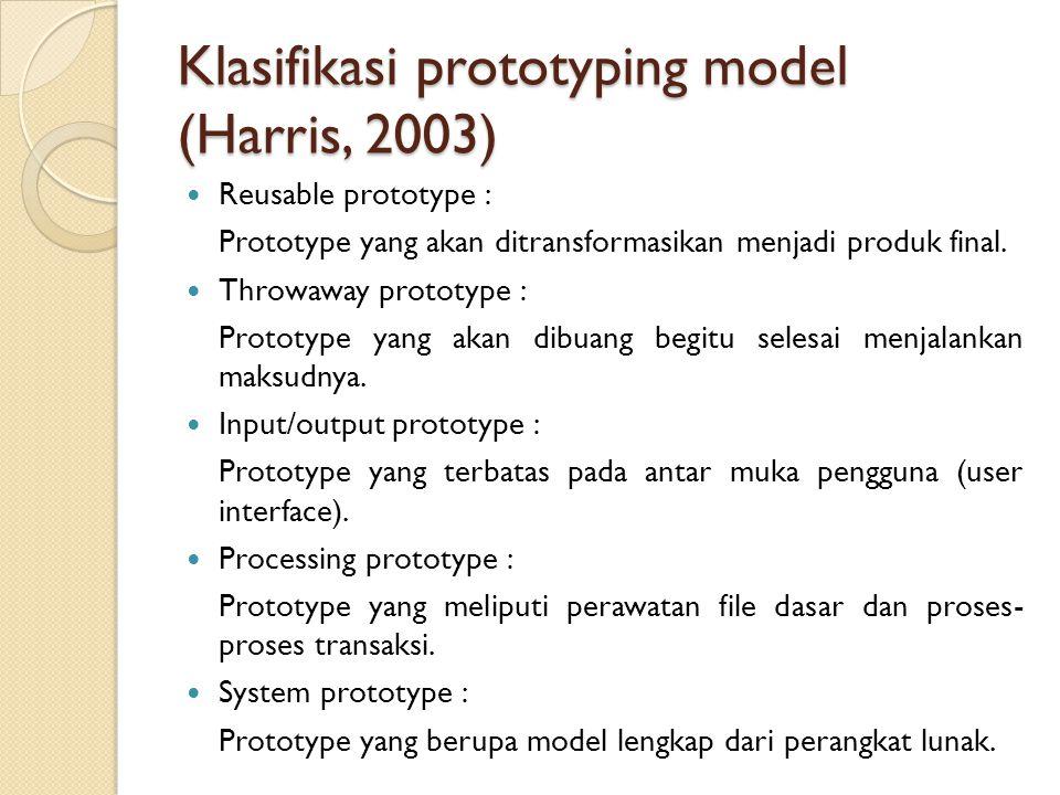 Reusable prototype : Prototype yang akan ditransformasikan menjadi produk final. Throwaway prototype : Prototype yang akan dibuang begitu selesai menj