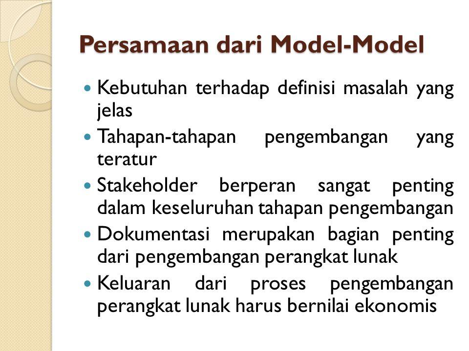 Persamaan dari Model-Model Kebutuhan terhadap definisi masalah yang jelas Tahapan-tahapan pengembangan yang teratur Stakeholder berperan sangat pentin
