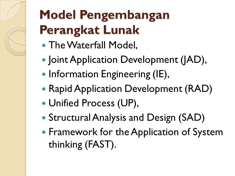 The Waterfall Model (Tahapan) Tahap investigasi Tahap analisis Tahap disain Tahap implementasi Tahapan perawatan (maintenance)