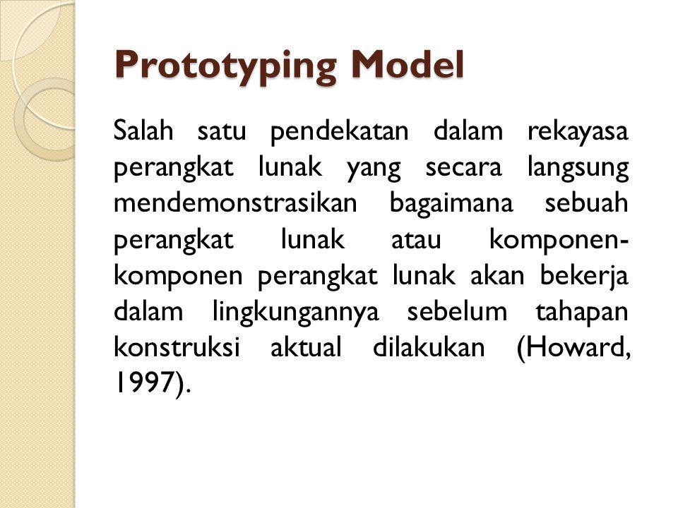 Prototyping Model Salah satu pendekatan dalam rekayasa perangkat lunak yang secara langsung mendemonstrasikan bagaimana sebuah perangkat lunak atau ko